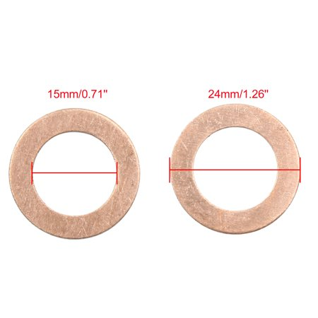 15mm Inner Dia Copper Crush Washers Car Flat Sealing Plate