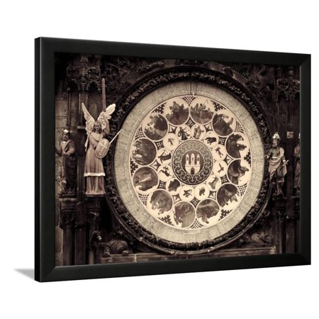 Czech Republic, Prague, Stare Mesto (Old Town), Astronomical Clock on Old Town Hall Framed Print Wall Art By Michele Falzone