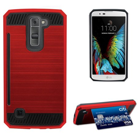 pick up 25417 356bd RED BRUSHED METAL DESIGN SHELL CASE RUGGED TPU RUBBER HARD COVER WITH CARD  STAND FOR LG K7 and LG TRIBUTE 5 (LG LS675, LG MS330, Sprint, MetroPCS, ...