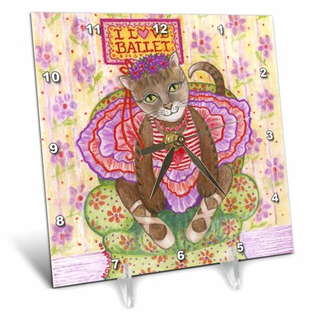 3dRose cat ballet ballerina cat in ballet costume I love ballet pastel illustration dance tutu feline - Desk Clock, 6 by 6-inch](Clock Costume)