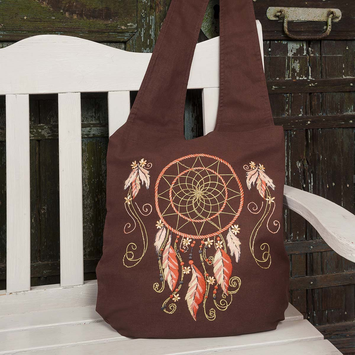 Herrschners® Brown Dream Catcher Bag Stamped Embroidery Kit