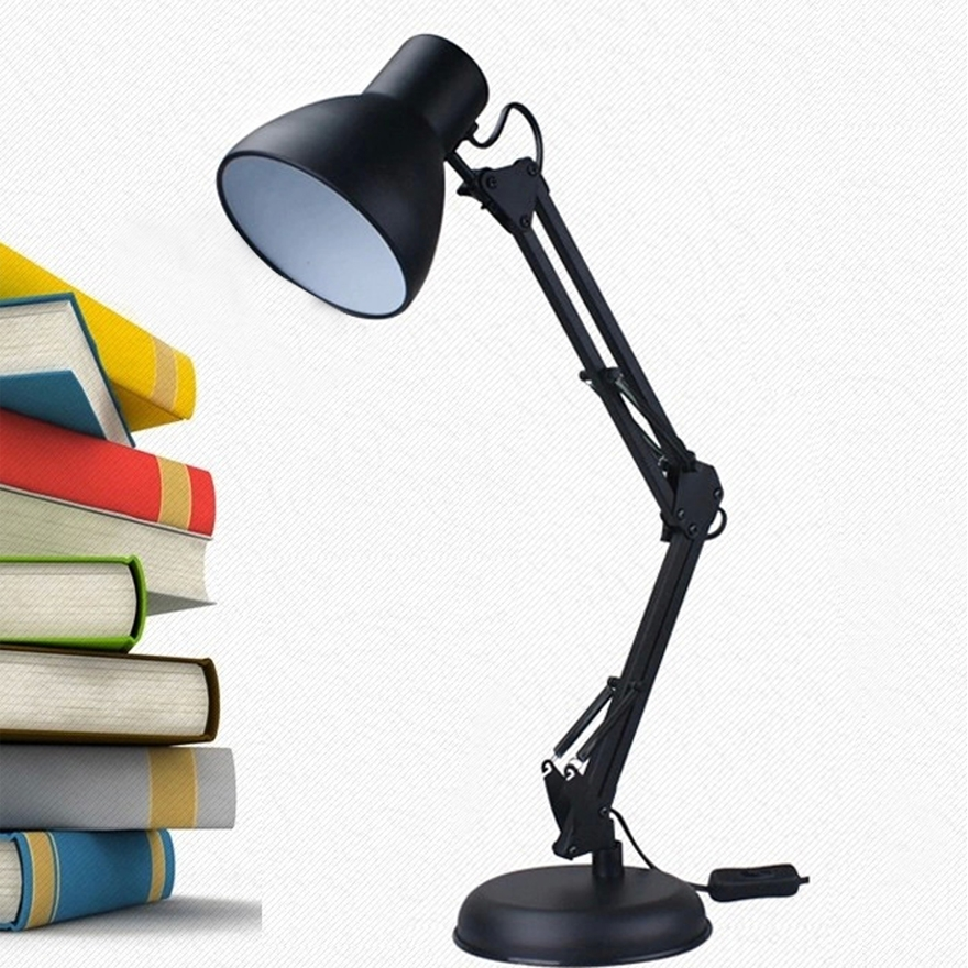Adjustable Architect Swing Arm Desk Lamp,Office Table Lamp Metal Black by