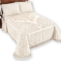 Royalty Elegant Scroll and Checkered Pattern Chenille Bedspread with Fringe Border