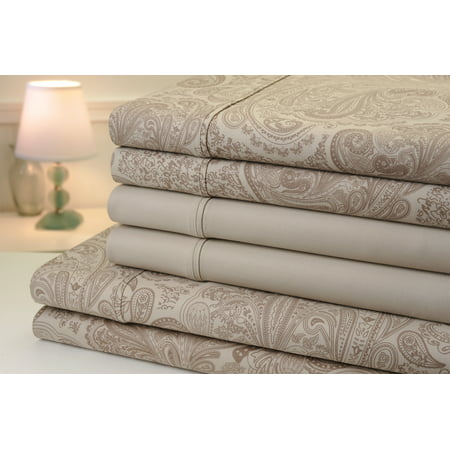Collection European Linen (Bibb Home Paisley Collection 800 Thread Count Cotton Rich Sheets 6 Piece Set - 8 Colors - King / Linen )