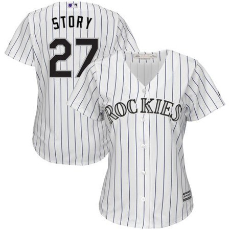 Trevor Story Colorado Rockies Majestic Women's Home Official Cool Base Player Replica Jersey - White/Purple