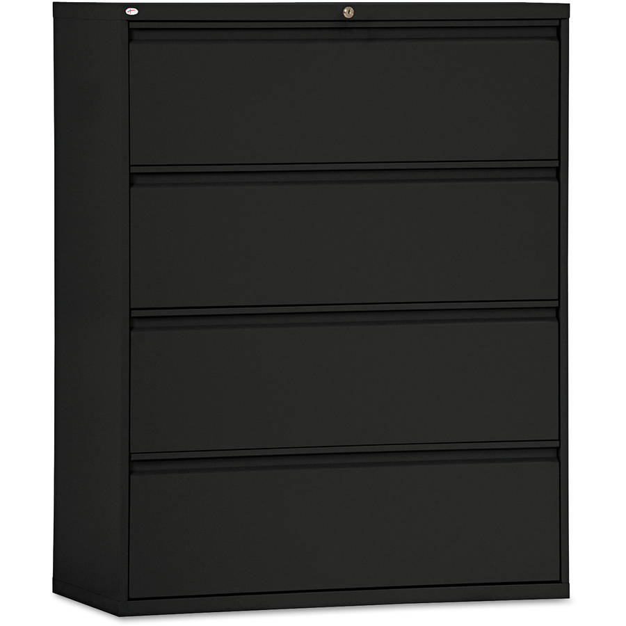 Alera 4 Drawers Lateral Lockable Filing Cabinet, Black