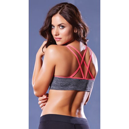 Strappy Contrast Push Up Sports Bra  Push Up Sports Bra