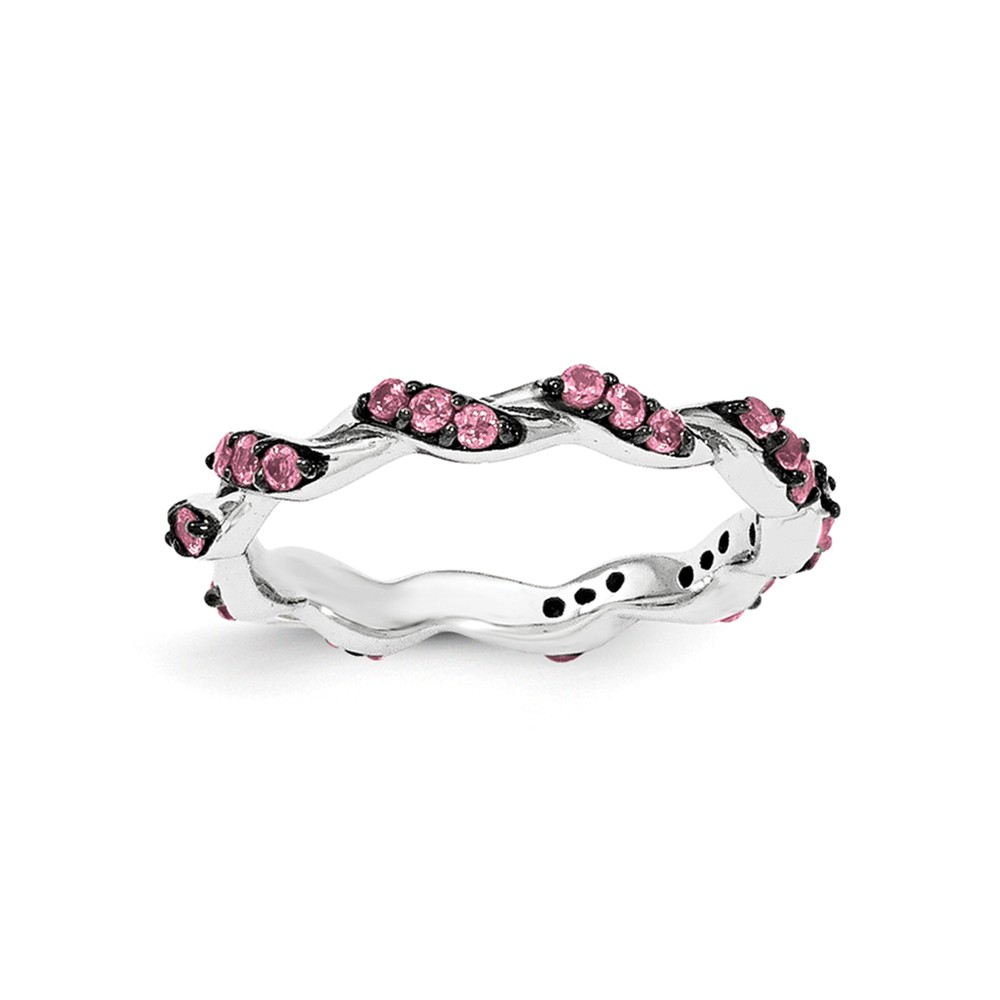 925 Sterling Silver Rhodium-Tone Pink Tourmaline Twisted Eternity Ring Size-6 by