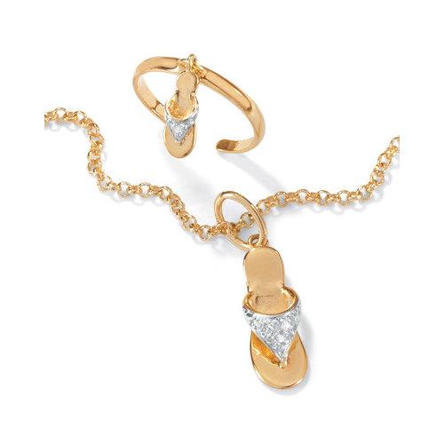 Palm Beach Jewelry 18k Gold/Silver Ankle Bracelet