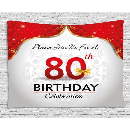 80th Birthday Decorations Tapestry Party Invitation With Abstract Flora Backdrop Wall Hanging For
