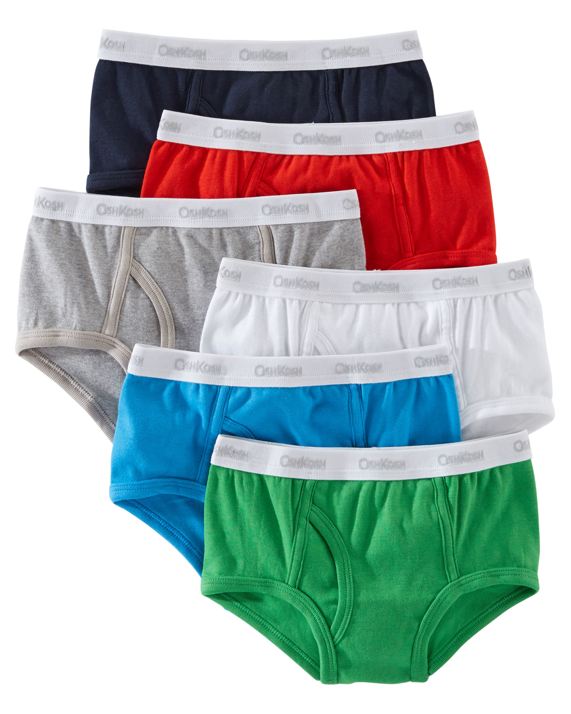 OshKosh B'gosh Big Boys' 6 Pack Cotton Briefs- Solids, 2 Kids
