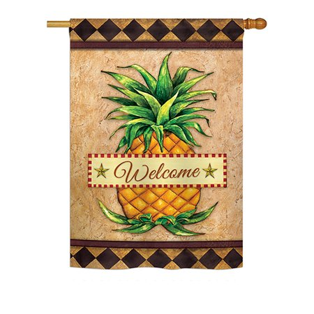 Pineapple Welcome House - Ornament Collection - Welcome Pineapple Food - Everyday Fruits Impressions Decorative Vertical House Flag 28