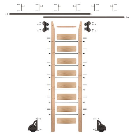 Rolling 9' Red Oak Ladder Kit, oil rubbed bronze, with 12' total railing