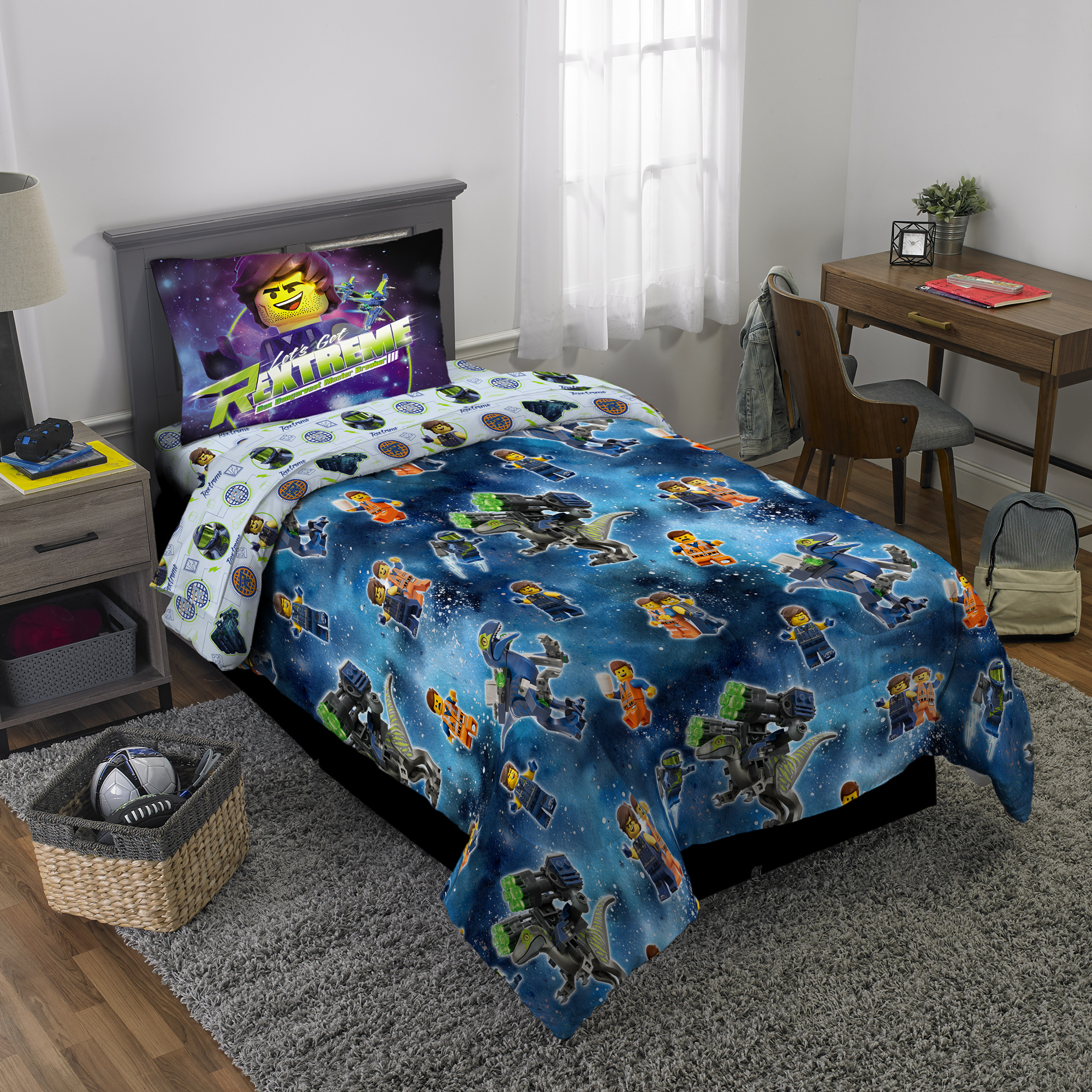 The LEGO Movie 2 4Pc Bedding Set, Twin, Bed in a Bag with BONUS TOTE!, To the Rex-Treme