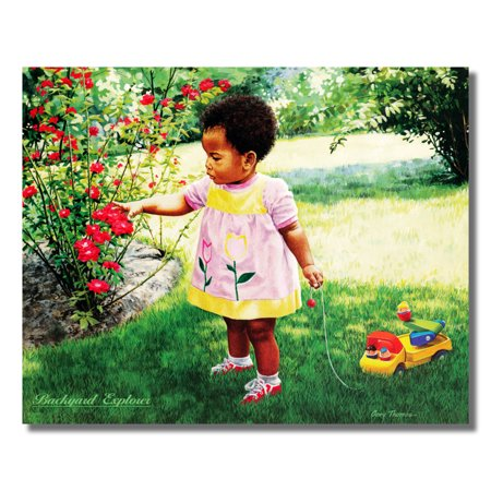 African American Black Girl and Rose Flowers Wall Picture 8x10 Art Print