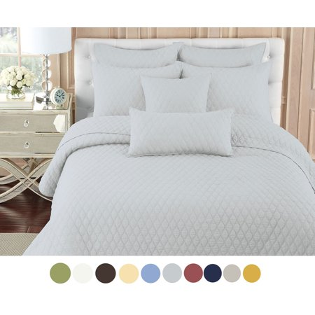 nc home fashions contour solid color quilt set king lunar rock