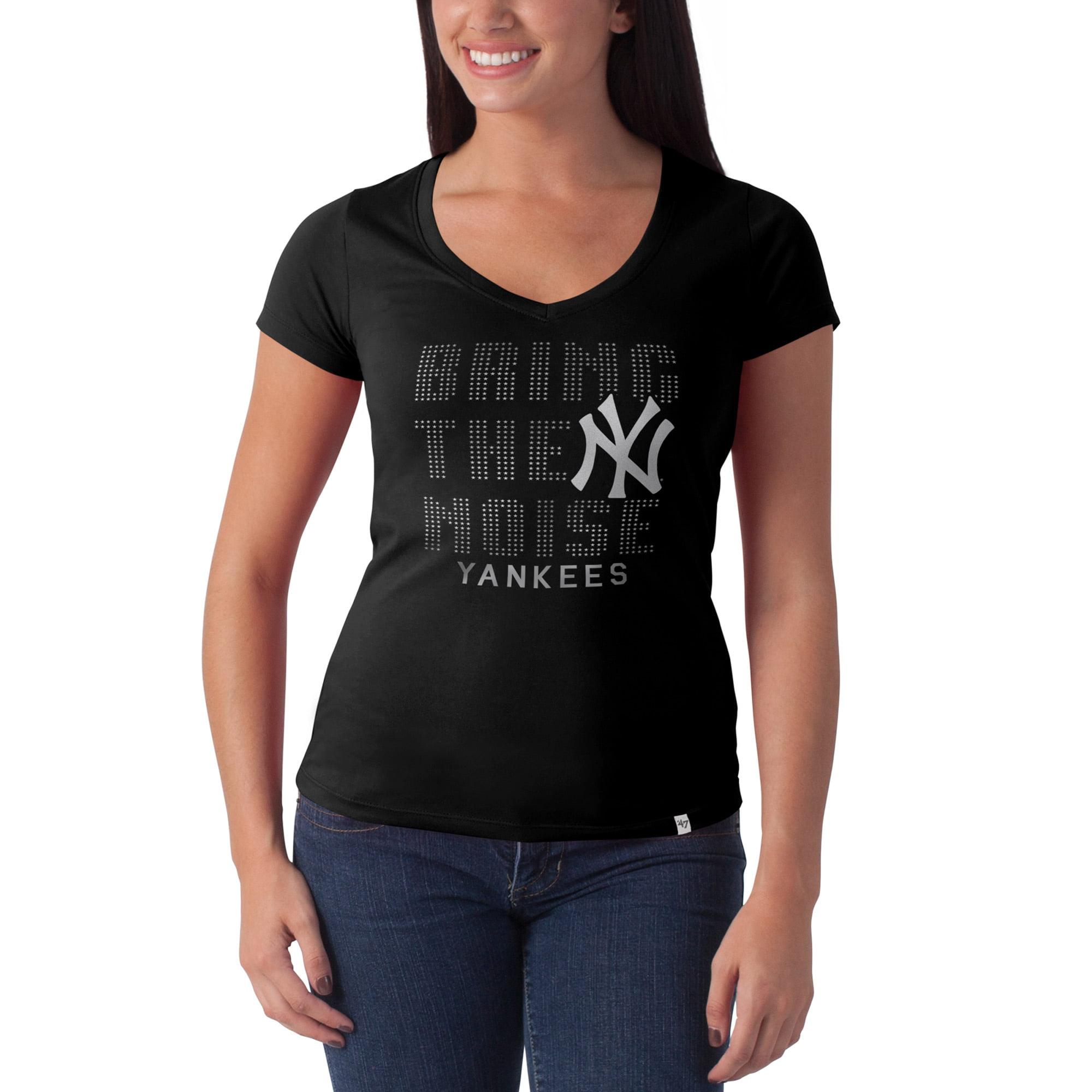 Women's '47 Black New York Yankees Bring the Noise Flanker V-Neck T-Shirt