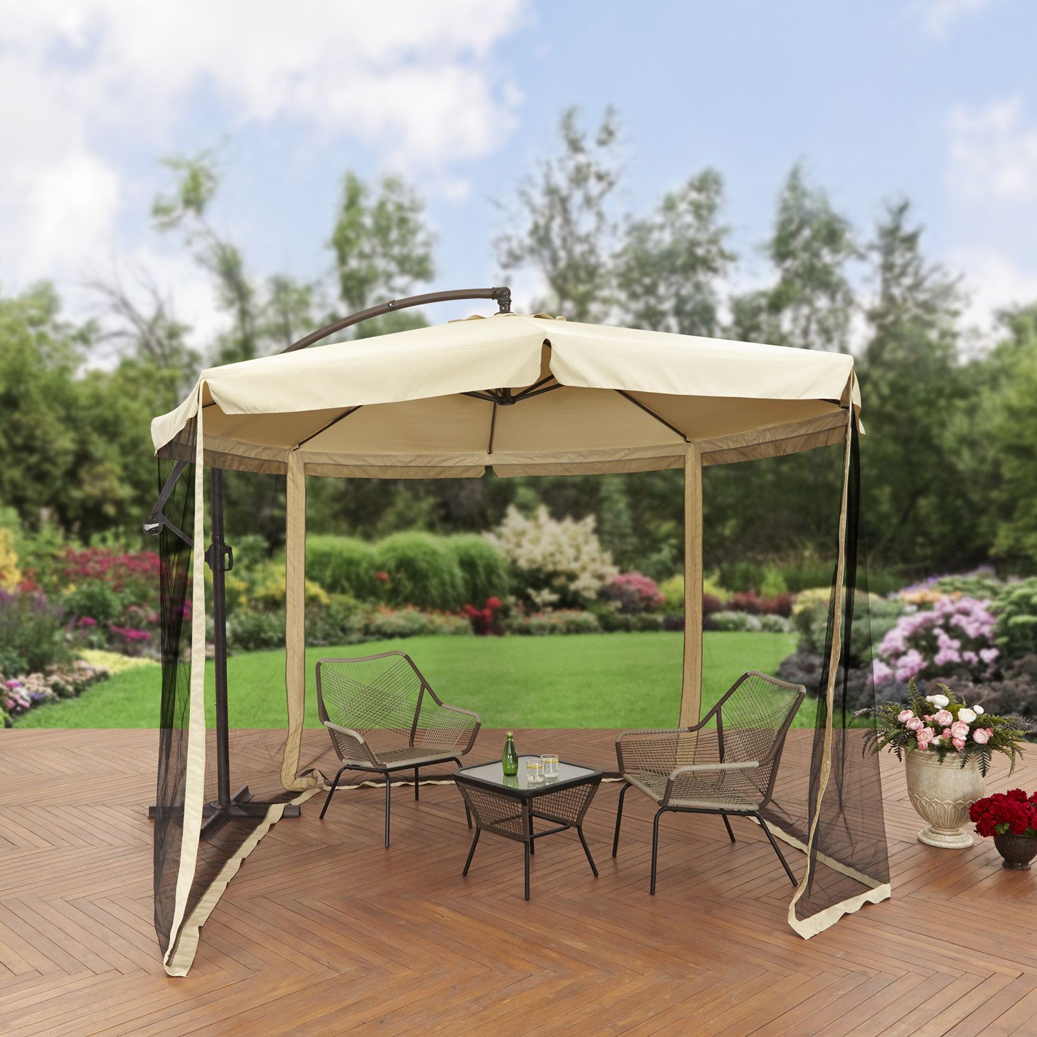 Better Homes and Gardens 11' Offset Umbrella with Detachable Net, Tan by NINGBO EVERLUCK OUTDOOR PRODUCTS MANUFACTING CO LTD