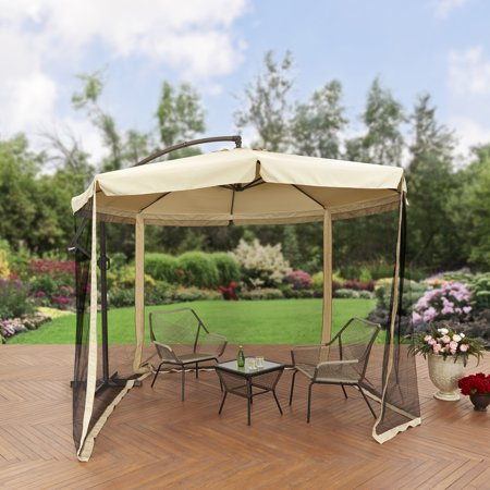 Better Homes And Gardens 11 Offset Umbrella With Detachable Net Tan