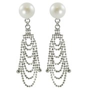 PearLustre by Imperial Sterling Silver White Freshwater Button Pearl Cascade Earrings (8-9 mm)