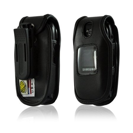 Turtleback Black Leather Case For Samsung U360 Gusto Flip Phone With Rotating Belt Clip   Made In Usa