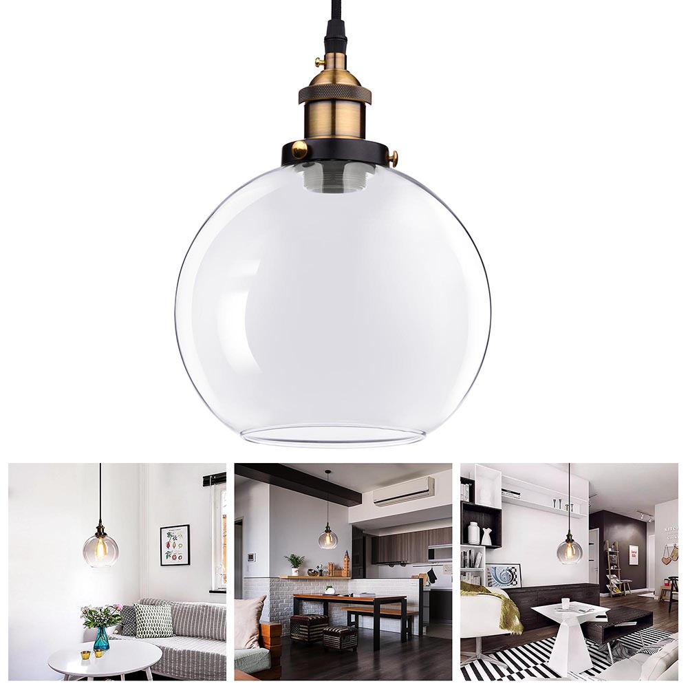 "Yescom Vintage Industrial 7.9"" Glass Ball Ceiling Light Pendant Chandelier Light Edison Lamp Cafe Kitchen Clear"