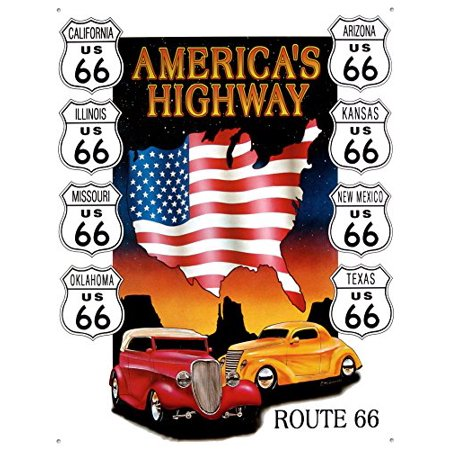 Highway Construction Signs - Route 66 America's Highway Tin Sign 13 x 16in