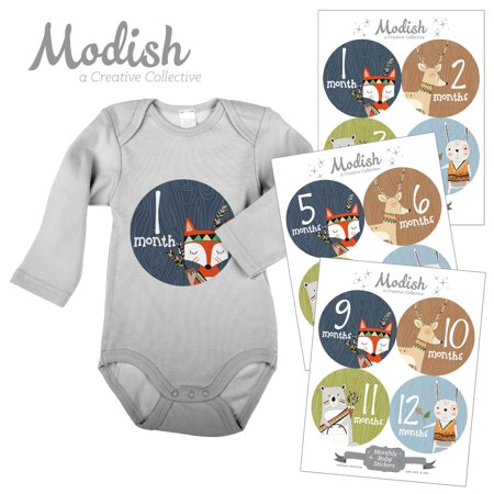 Modish Monthly Baby Stickers, Boy, Woodland Animals, Fox, Bear, Deer, Rabbit, Baby Photo Prop, Baby Shower Gift, Baby Book (Rabbit Photo Gift)