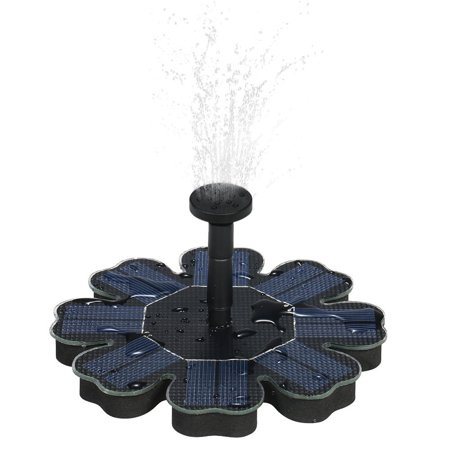 Water Fountain Pump 1.4W Solar Outdoor Fountain Pump Birdbath, Flower Shape Design, Freestanding Floating Solar Bird Bath, Solar Panel Kit Submersible Water Pump for Pond, Garden, Patio