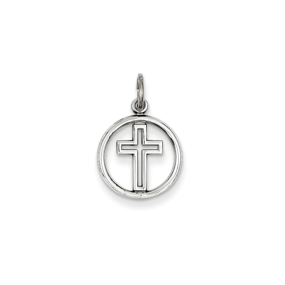 14k White Gold Eternal Life Cross Charm (0.8in long x 0.5in wide)