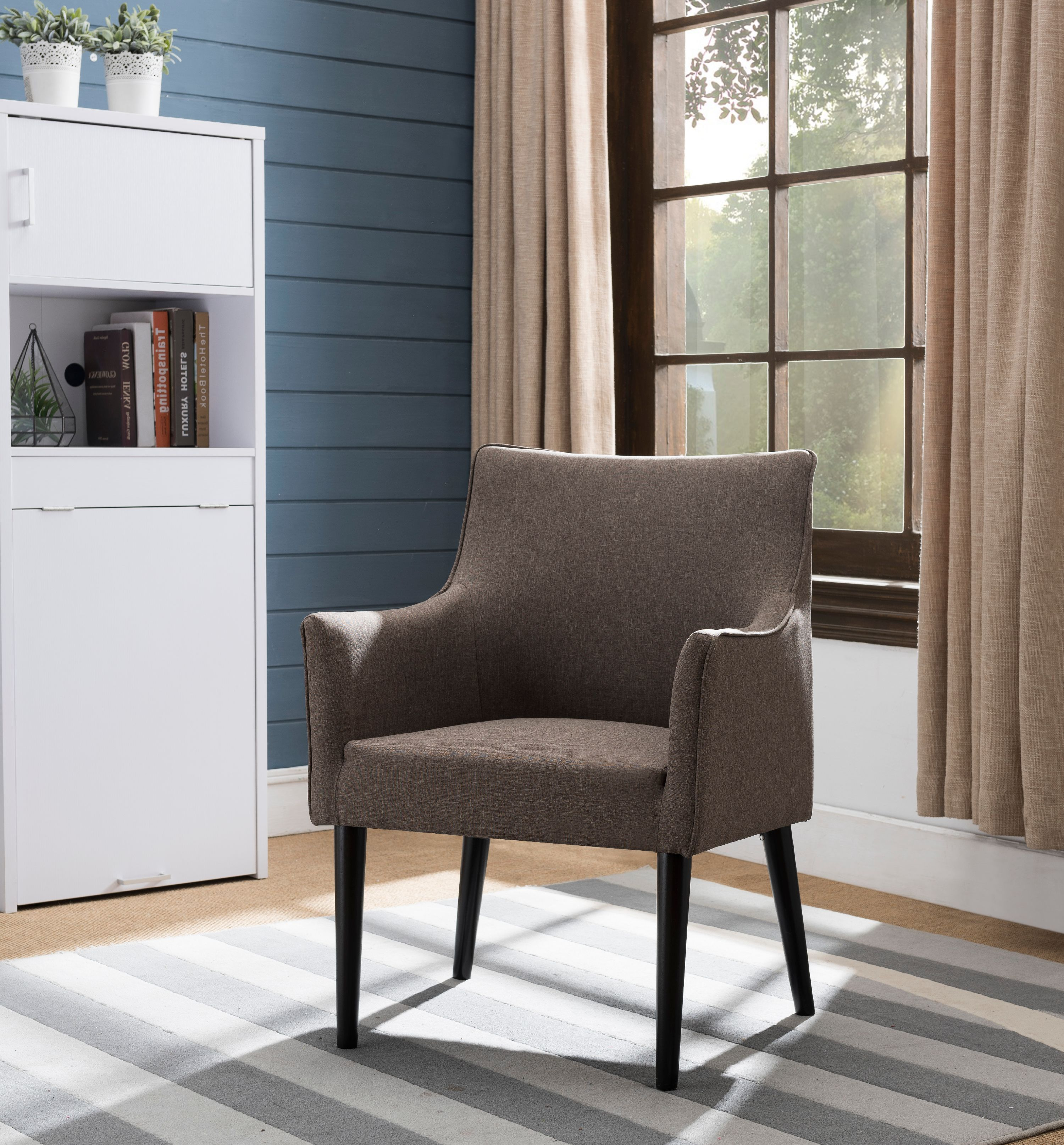 Brown Upholstered Fabric Oversized Accent Living Room Arm Chair With Solid Wood Legs