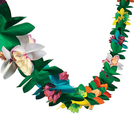 9 Ft Tissue Flower Garland Hawaiian Luau Party Decoration (Hawaiian Party Decoration)