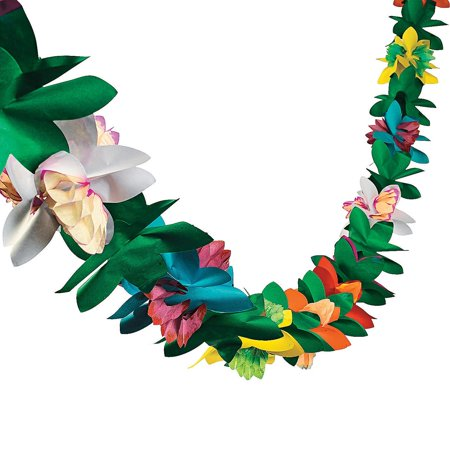9 Ft Tissue Flower Garland Hawaiian Luau Party Decoration - Luau Hawaii