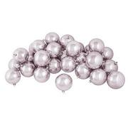 "60ct Shiny Silver Peony Pink Shatterproof Christmas Ball Ornaments 2.5"" (60mm)"
