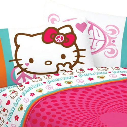 Hello Kitty Bed Sheet Set Sanrio Peace and Love Bedding Accessories