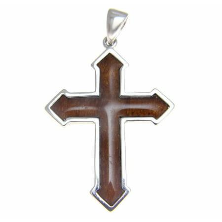 Genuine inlay Hawaiian koa wood cross pendant 29mm sterling silver 925