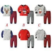 2Pcs Christmas Kid Baby Girl Boy Clothes Top Pullovers Pants Xmas Outfit Set