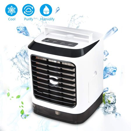 Coolmade Portable Mobile Air Conditioner, USB Mini Evaporative Fan 3 In1 Air Cooler Humidifier And Purifier, Mobile Air Conditioner Silent with 7 Color LED