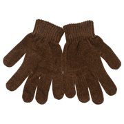 Women Brown Knitted Ribbed Stay Put Cuff Winter Gloves