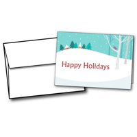 Winter Homes on a Hill Christmas Cards - 20 Greeting Card Sets