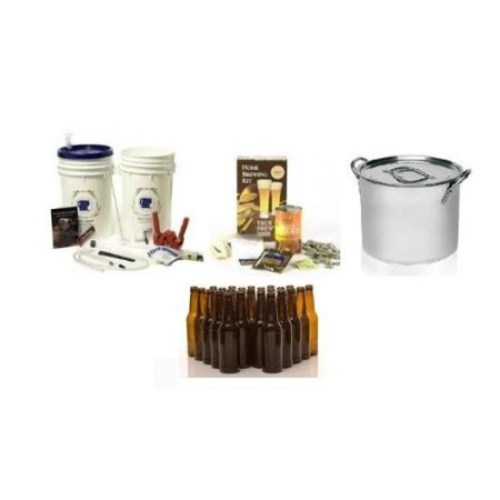 Complete Home Brew Starter Kit with Ingredients, Stainless Stock Pot, and Bottles