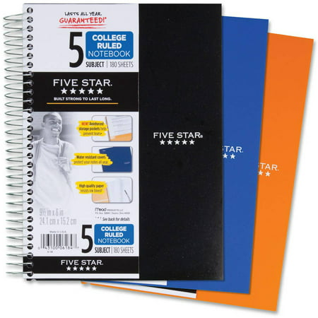 (Mead Five Star 5-Subject College-Ruled Notebook, Assorted Colors)