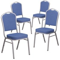 Flash Furniture 4 Pk. HERCULES Series Crown Back Stacking Banquet Chair in Blue Fabric - Silver Frame