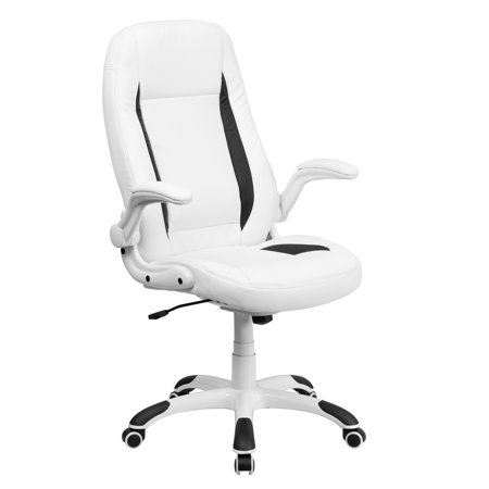 new style 5e2f8 19ab7 Flash Furniture High Back Leather Executive Office Chair with Flip-Up Arms,  White