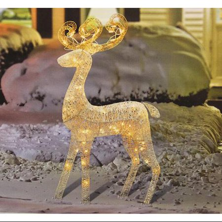 48 elegant glittered white reindeer lighted christmas yard art decoration - Lighted Deer Christmas Lawn Ornaments