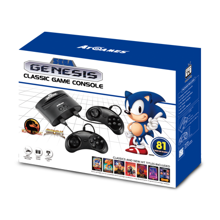 Sega Genesis Classic Game Console with 81 Classic Games Built-in, Black, (Plug And Play Sega Genesis 80 Games)