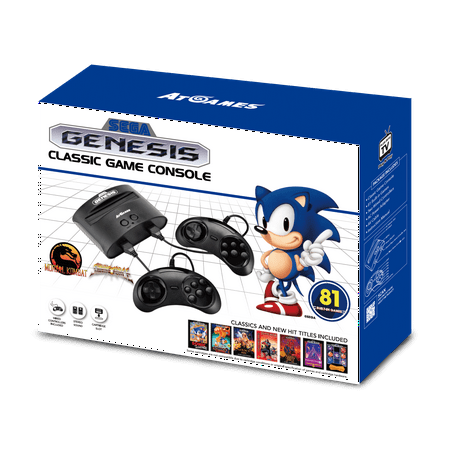 Sega Genesis Classic Game Console with 81 Classic Games Built-in, Black, FB8280C,](Retro 7 Black And White)