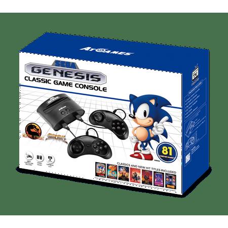 Sega Genesis Classic Game Console with 81 Classic Games Built-in, Black, FB8280C,