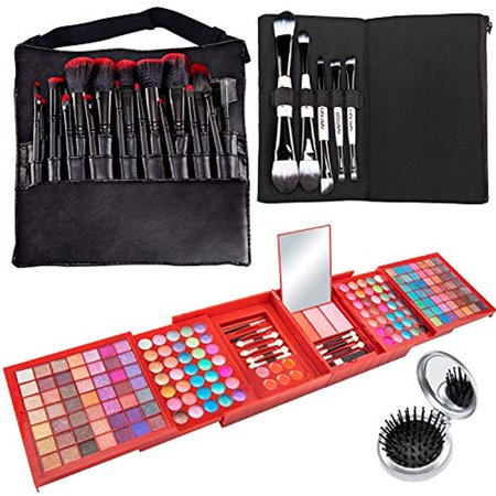 Vokai Makeup Kit Gift Set – 168 Eye Shadow Colors, 6 Lip Glosses - Pop-Up Mirror - Case with Carrying Handle with Bonus Makeup - Halloween Makeup Pop Art