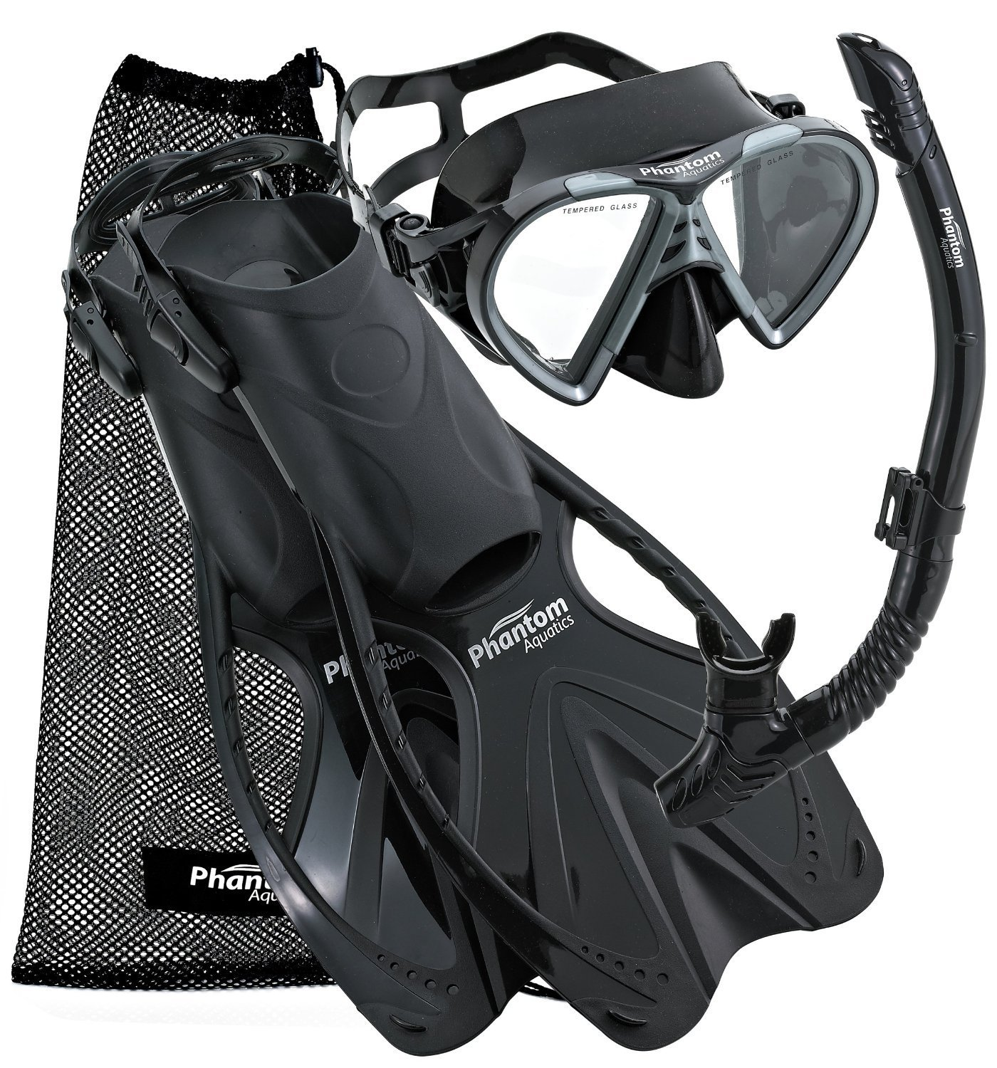 Phantom Aquatics Speed Sport Mask Fin Snorkel Set Adult, Black - Large/X-Large/Size 9 to 13